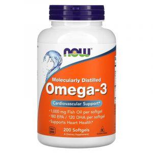 Omega-3 Molecularly Distilled Softgels - NOW Foods